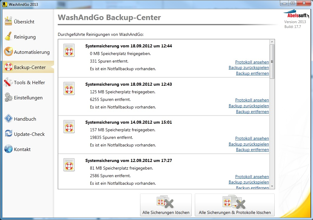 WashAndGO 2013 screenshot 1
