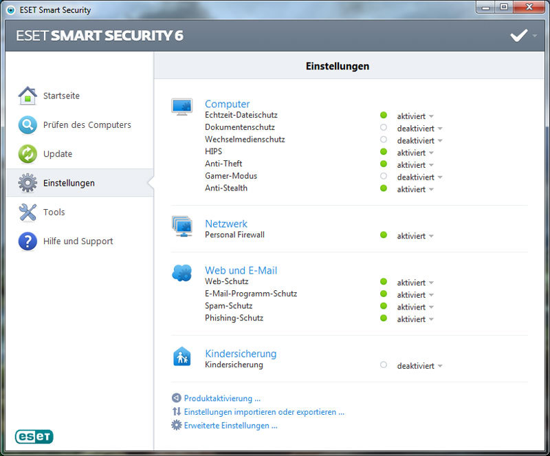 ESET Smart Security V6 screenshot 1