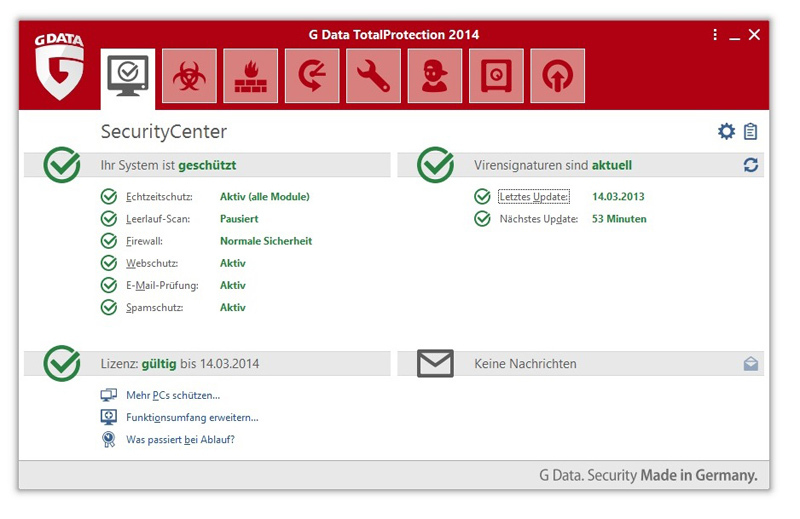 G Data TotalProtection 2014 screenshot 1