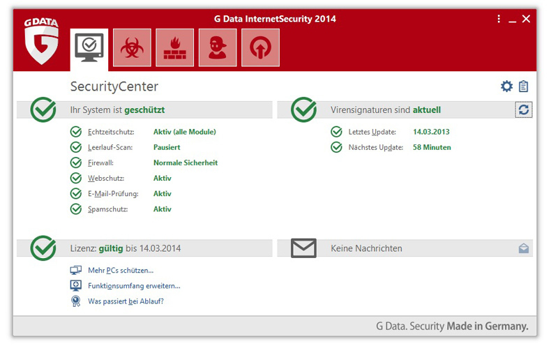 G Data InternetSecurity 2014 screenshot 1