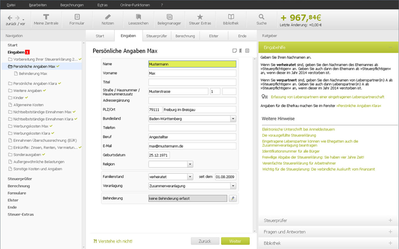 Taxman 2016 (für Steuerjahr 2015) inkl. F-Secure SAFE Internet Security 2015 screenshot 1
