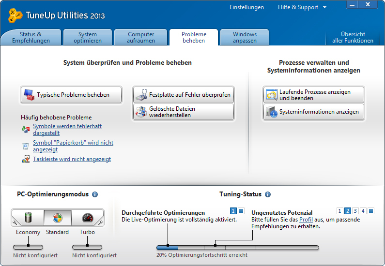 TuneUp Utilities 2013 screenshot 1